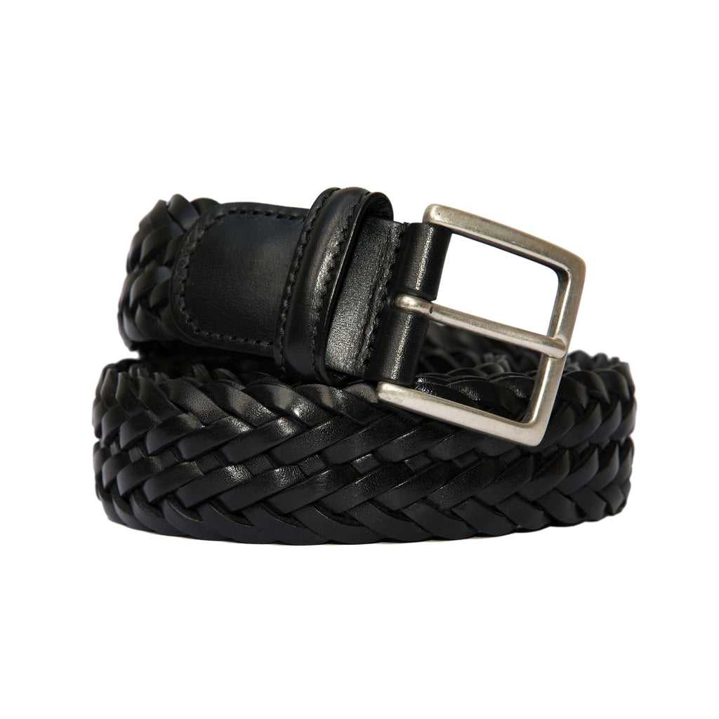Anderson's - Woven Leather Belt - Black