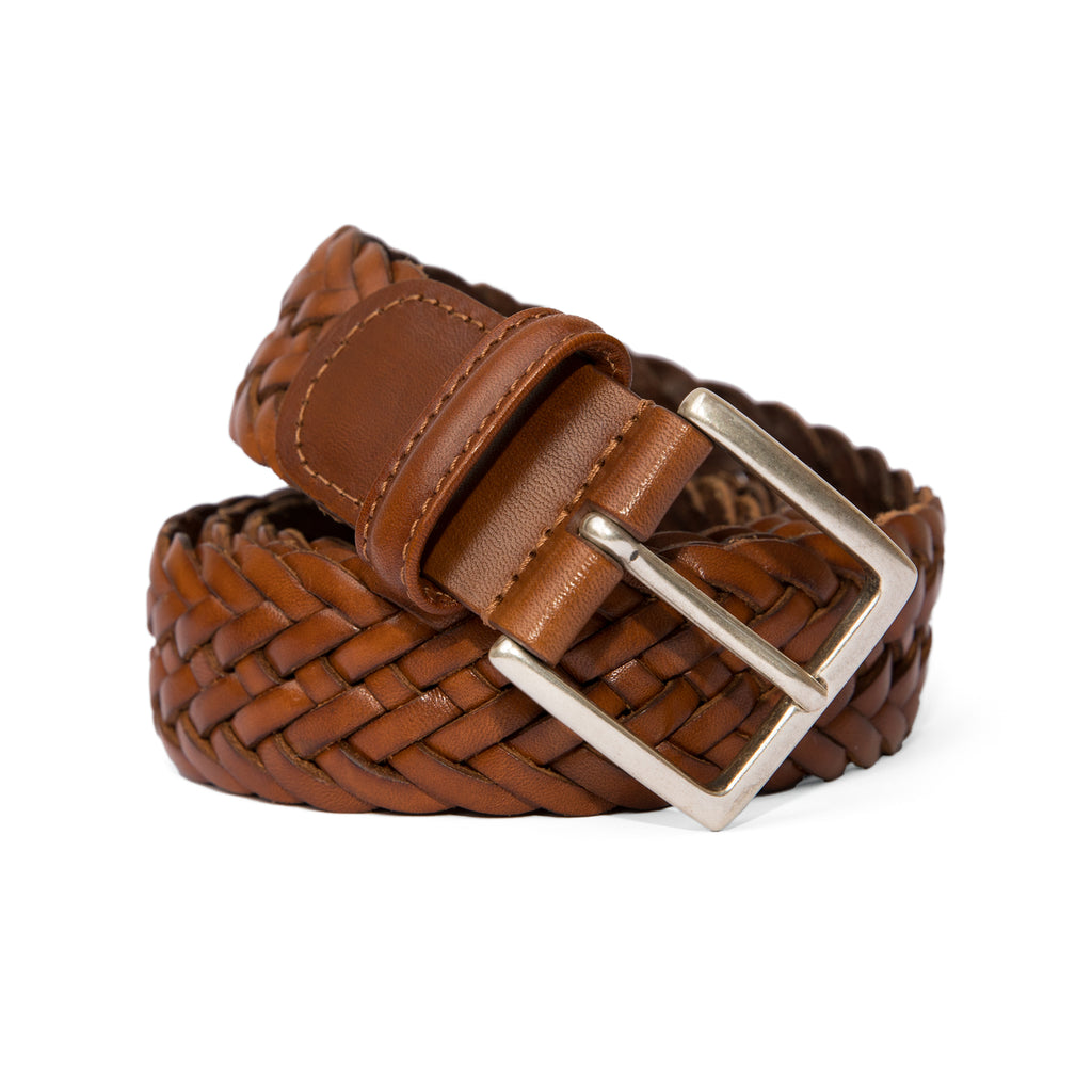 Anderson's - Woven Leather Belt - Brown