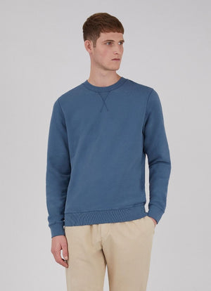 Cotton Loopback Sweatshirt - Smoke Blue