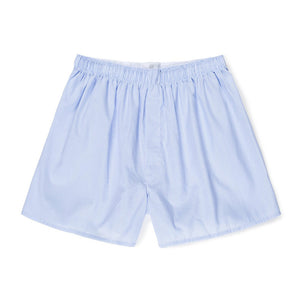 Cotton Poplin Boxer Shorts - White/Light Blue Micro Gingham
