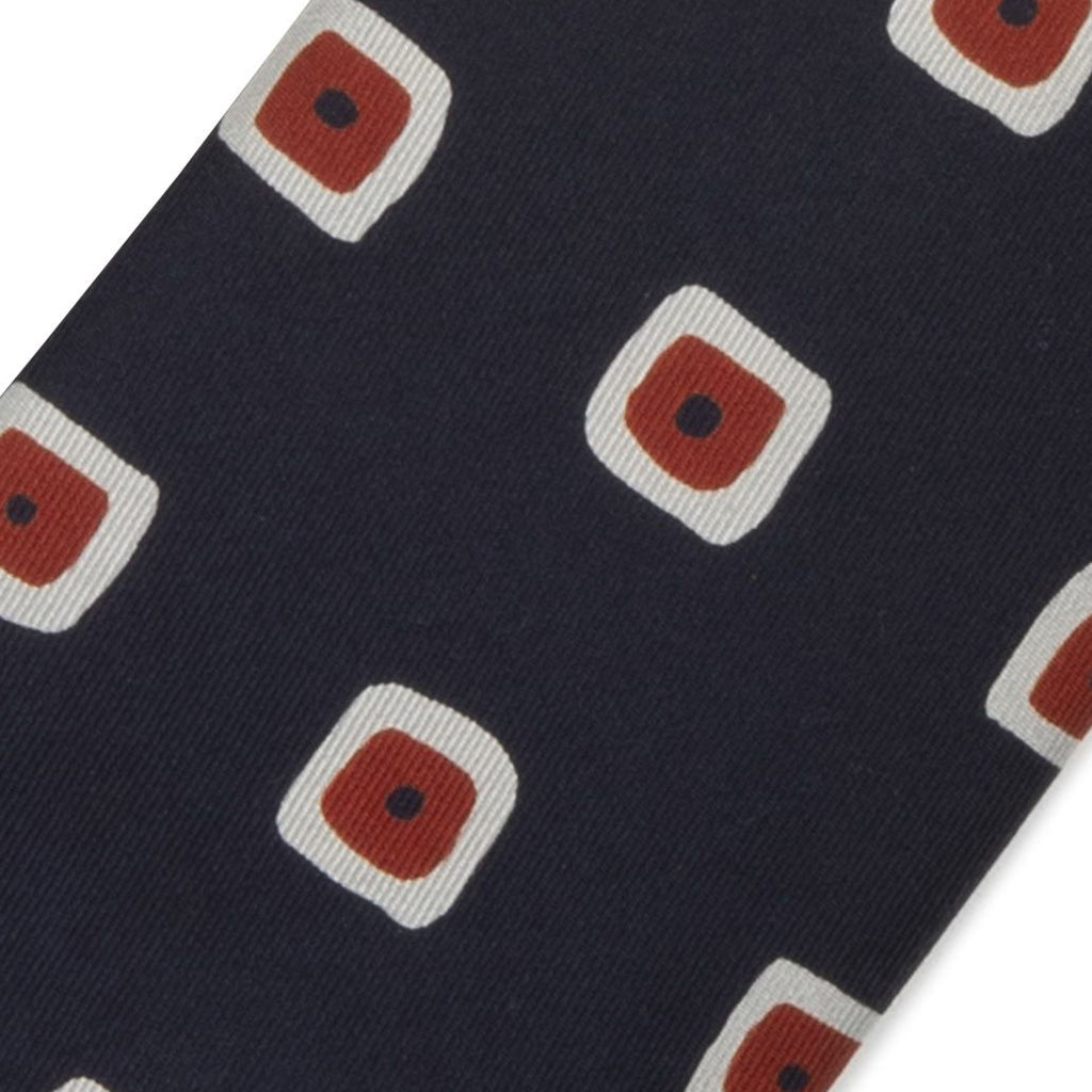 Drake's - Painted Square Print 36oz Madder Silk Tie - Navy