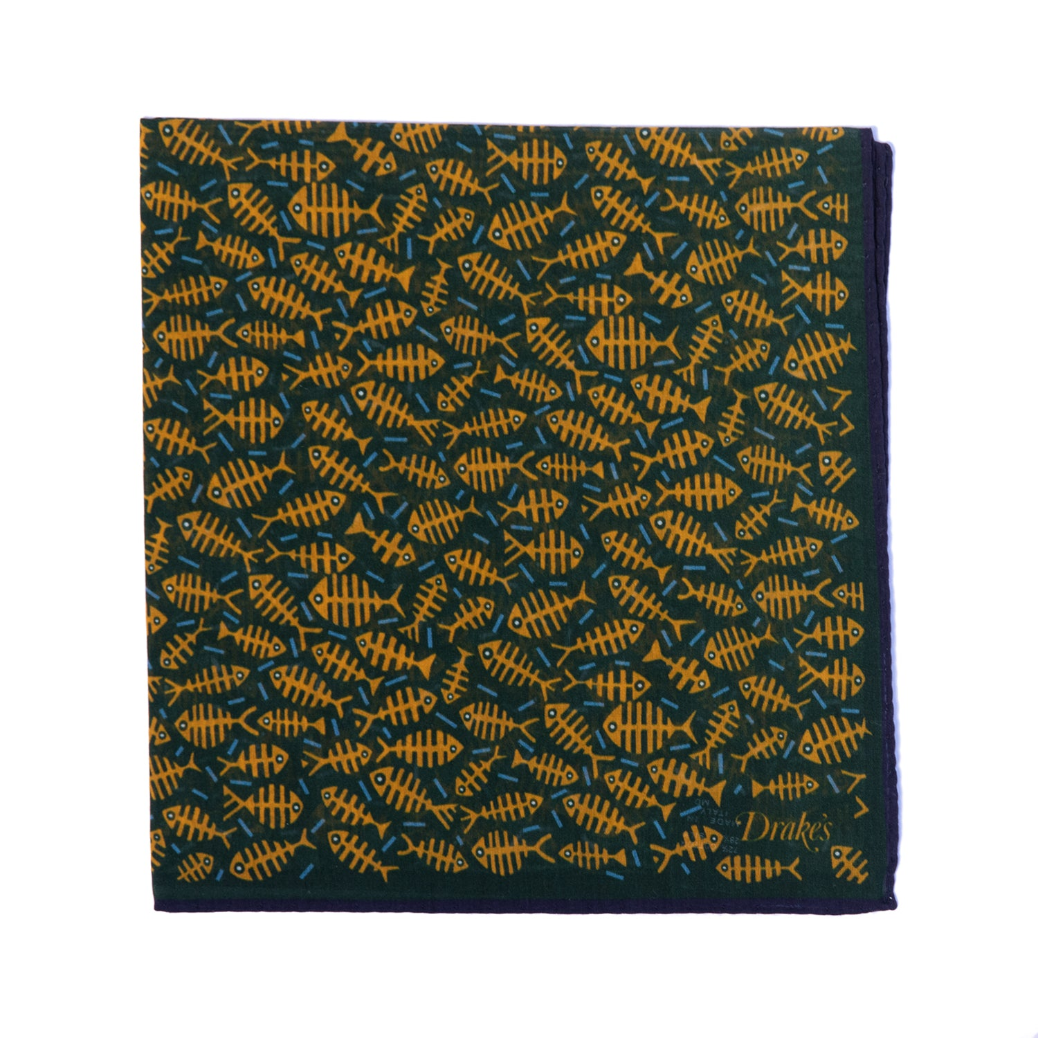 Fishbones Print Cotton-Silk Pocket Square