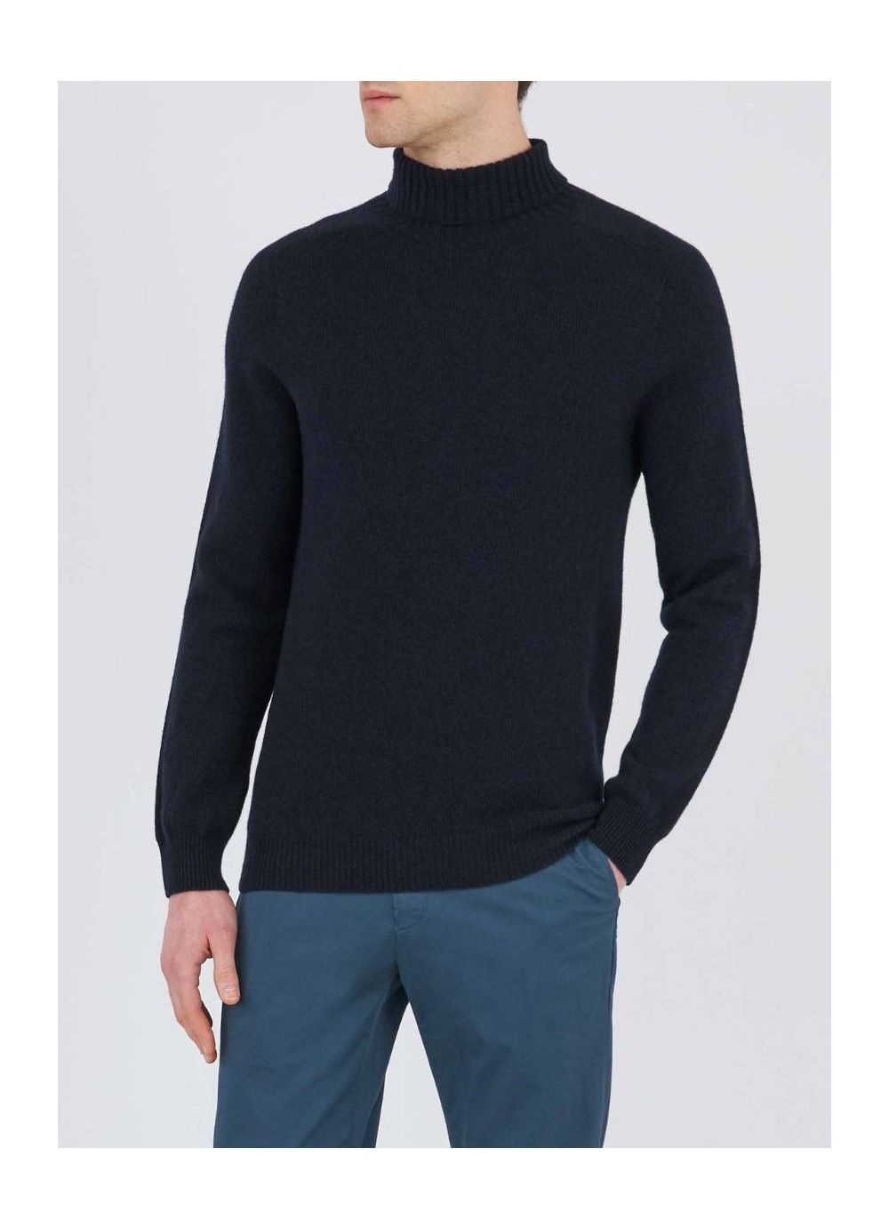Lambswool Roll Neck - Dark Navy Mouline