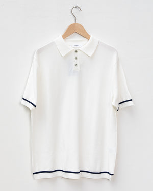 Line Knit Polo - White / Navy