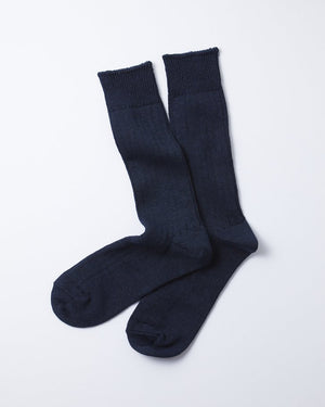 Linen Cotton Ribbed Crew Socks