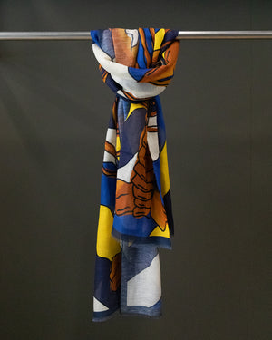 Lobster Print Cotton-Linen Scarf - Blue, Orange and Yellow
