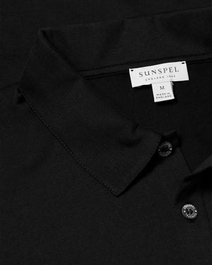 Long Sleeve Polo Shirt - Black