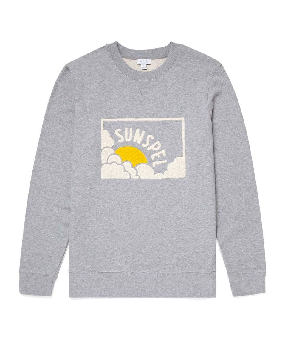 Loopback Sun & Cloud Sweatshirt - Grey Melange