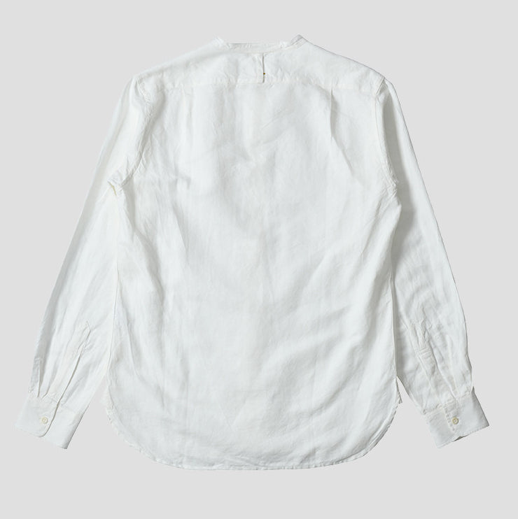 Margaret Howell MHL - Vintage Cotton Linen Collarless Shirt - Off White