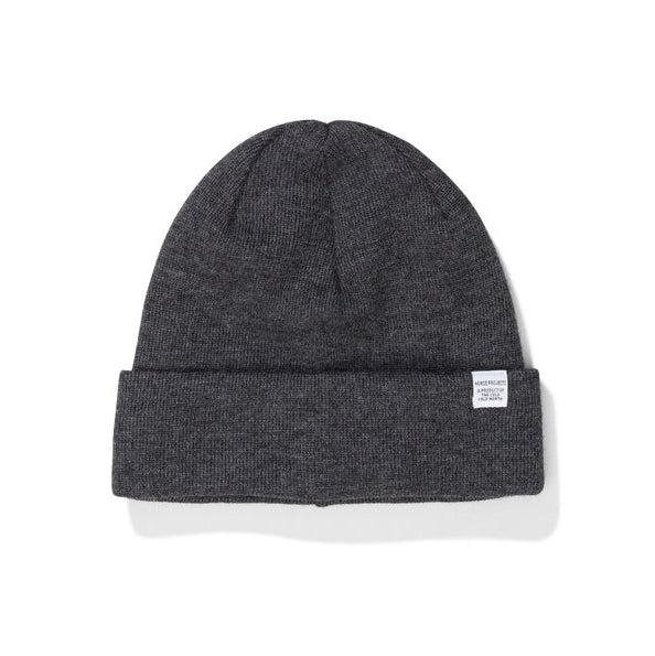 Merino Wool Top Beanie - Charcoal Melange