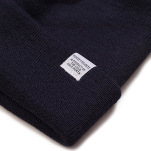 Merino Wool Top Beanie - Dark Navy