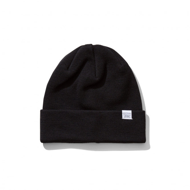 Merino Wool Top Beanie - Black
