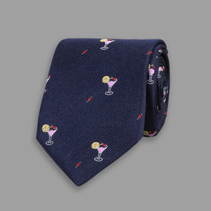 Navy Cocktail Motif Silk Tipped Tie