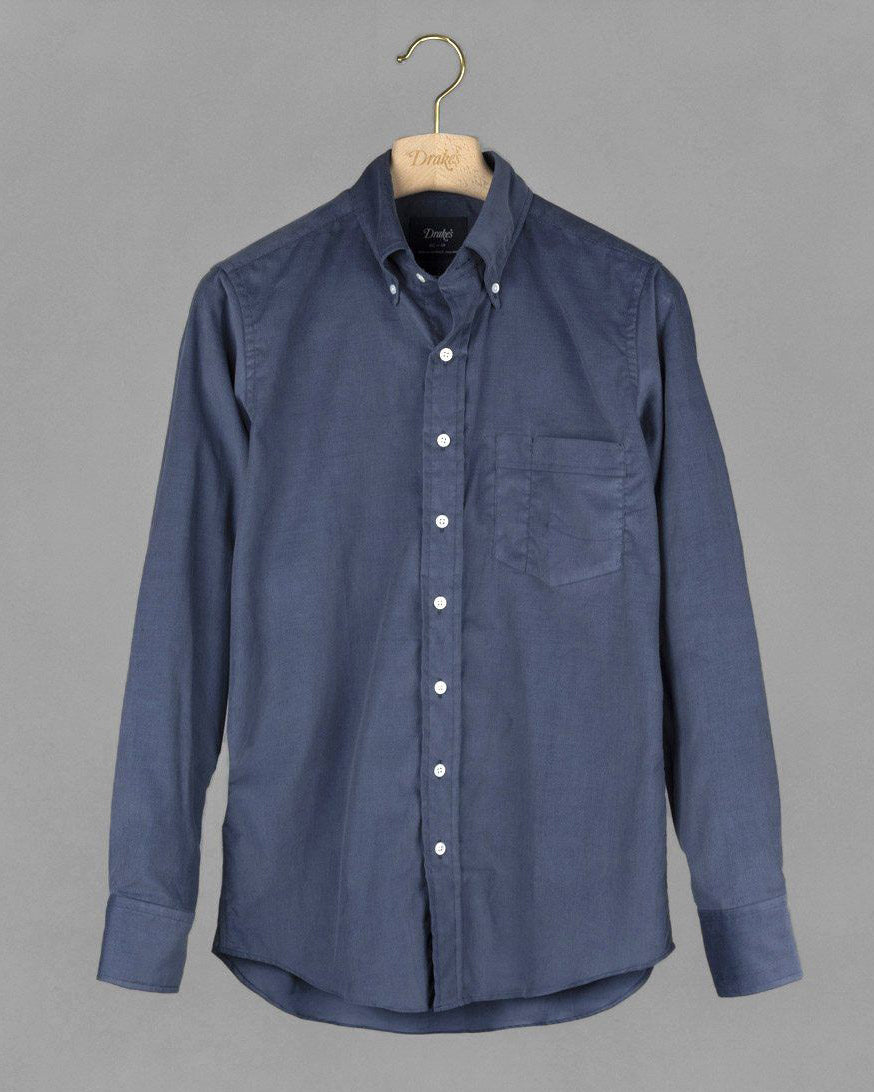 Needlecord Button-Down Shirt - Blue