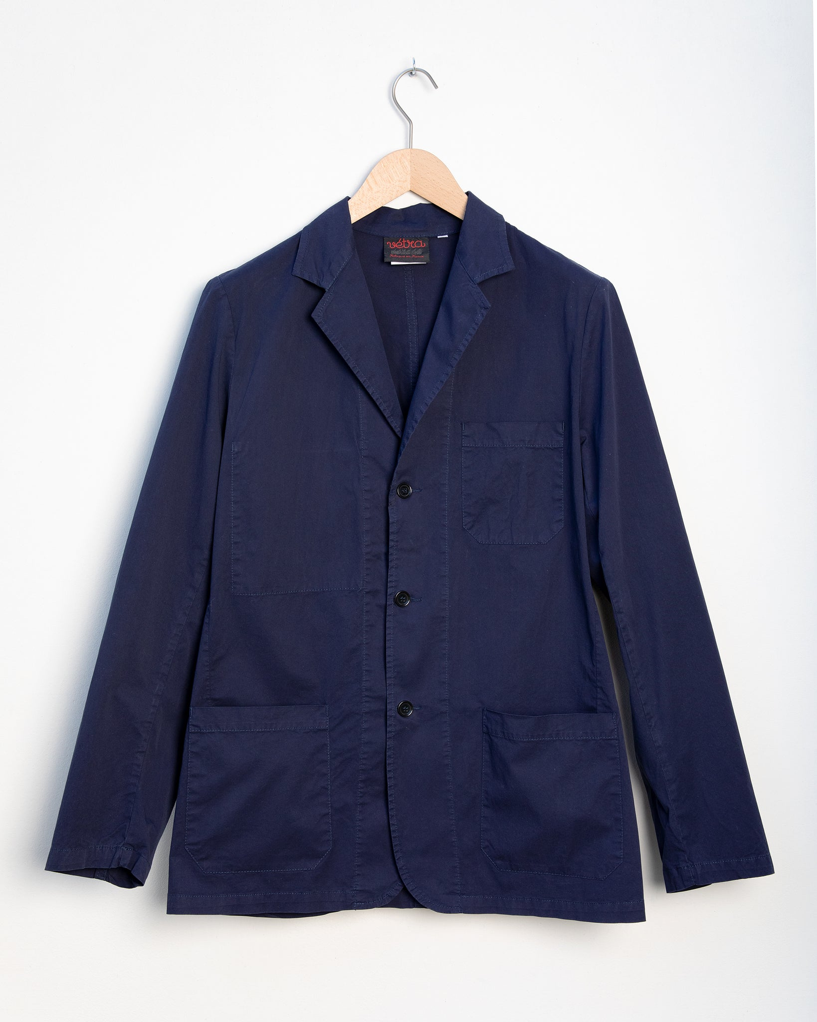 Poplin Cotton Blazer  - Navy