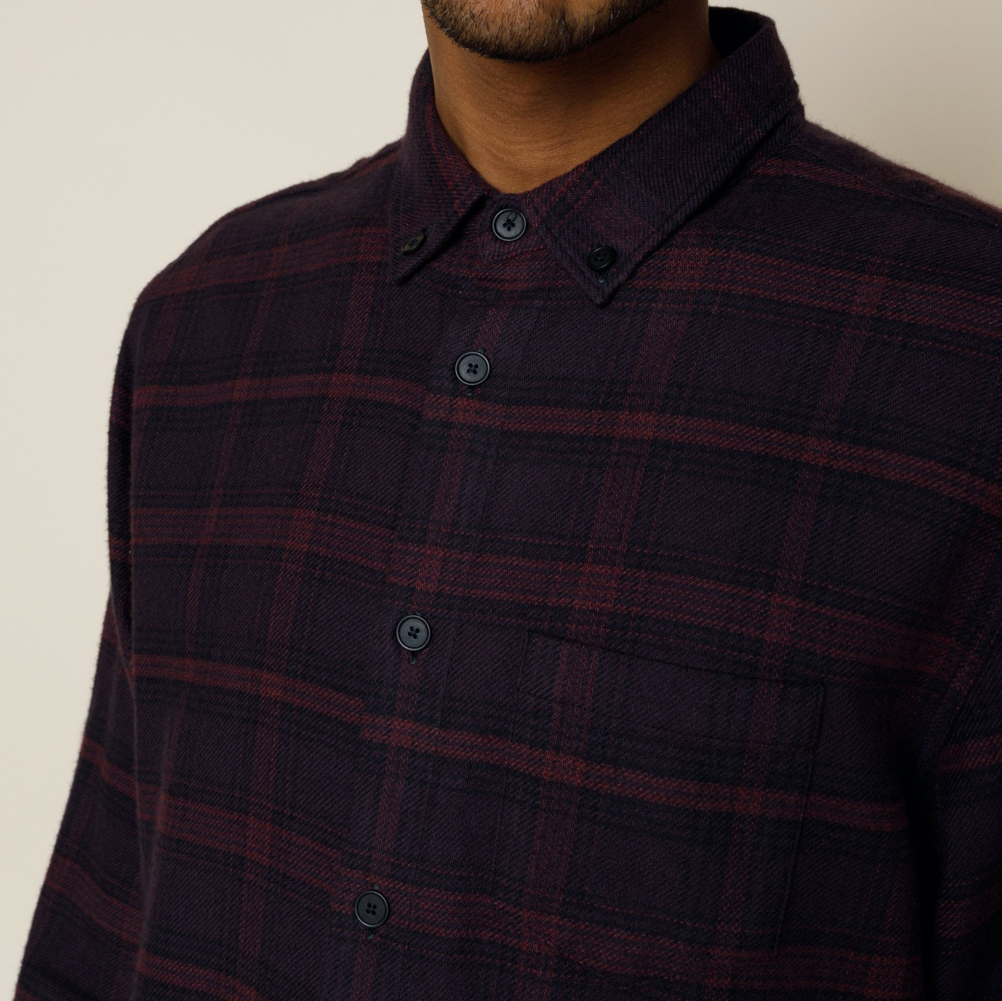 Relaxed Fit Shirt - Aubergine Check