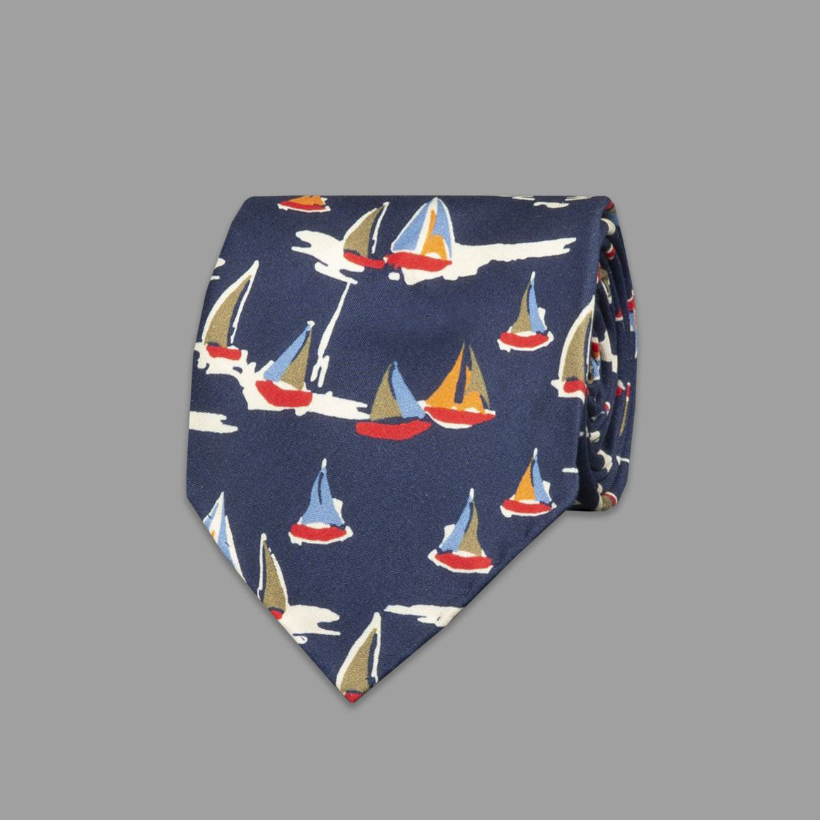 Sailboat Print Silk Tie