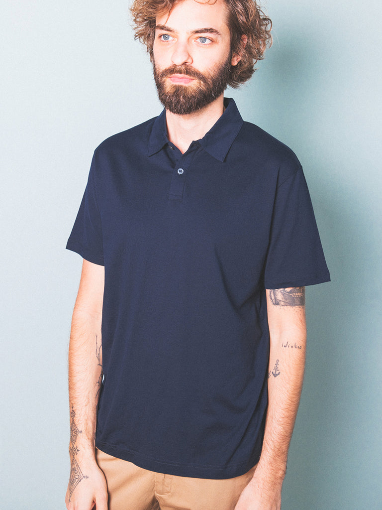 Sunspel - Cotton Jersey Polo Shirt - Navy