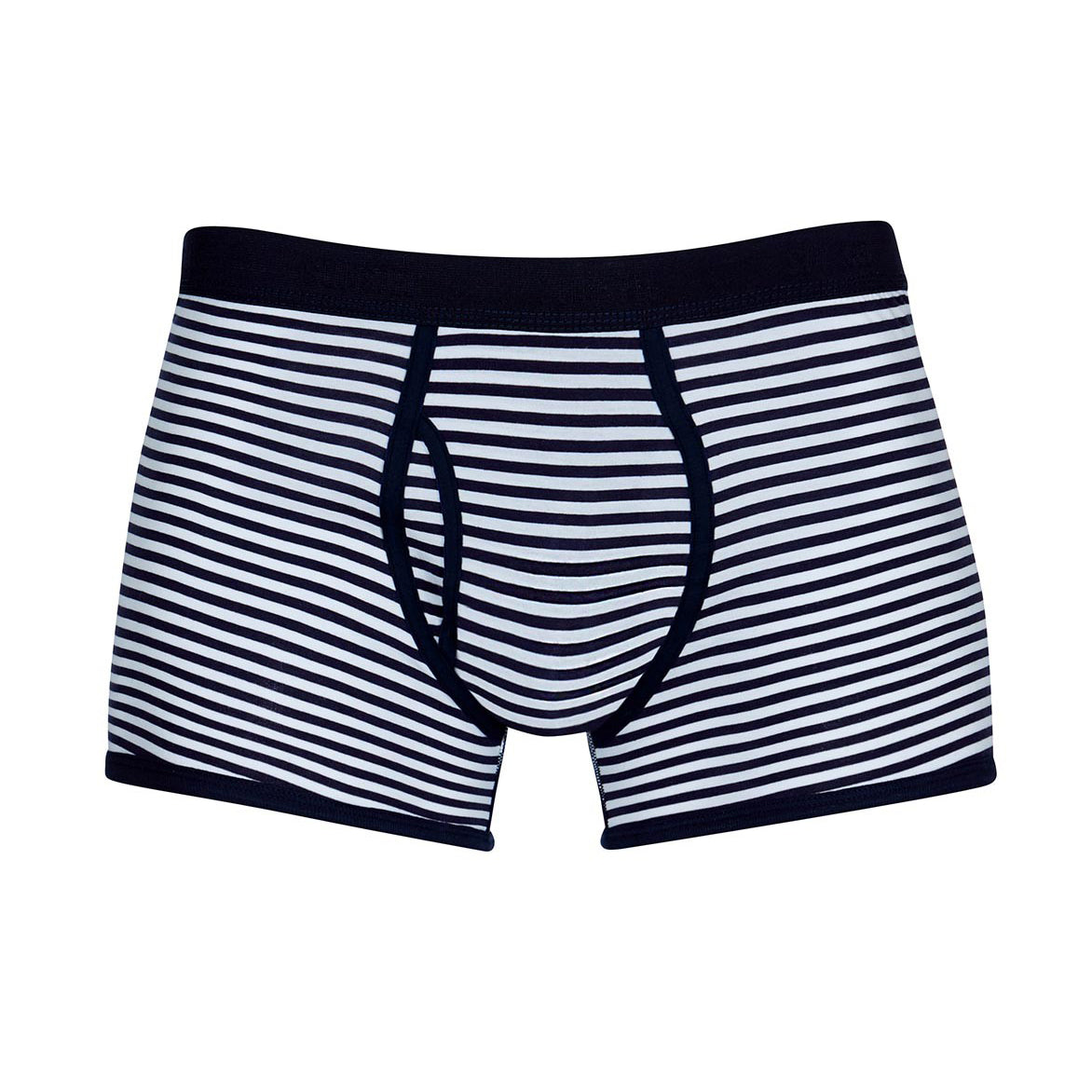 Superfine Cotton Striped Trunks - White / Navy