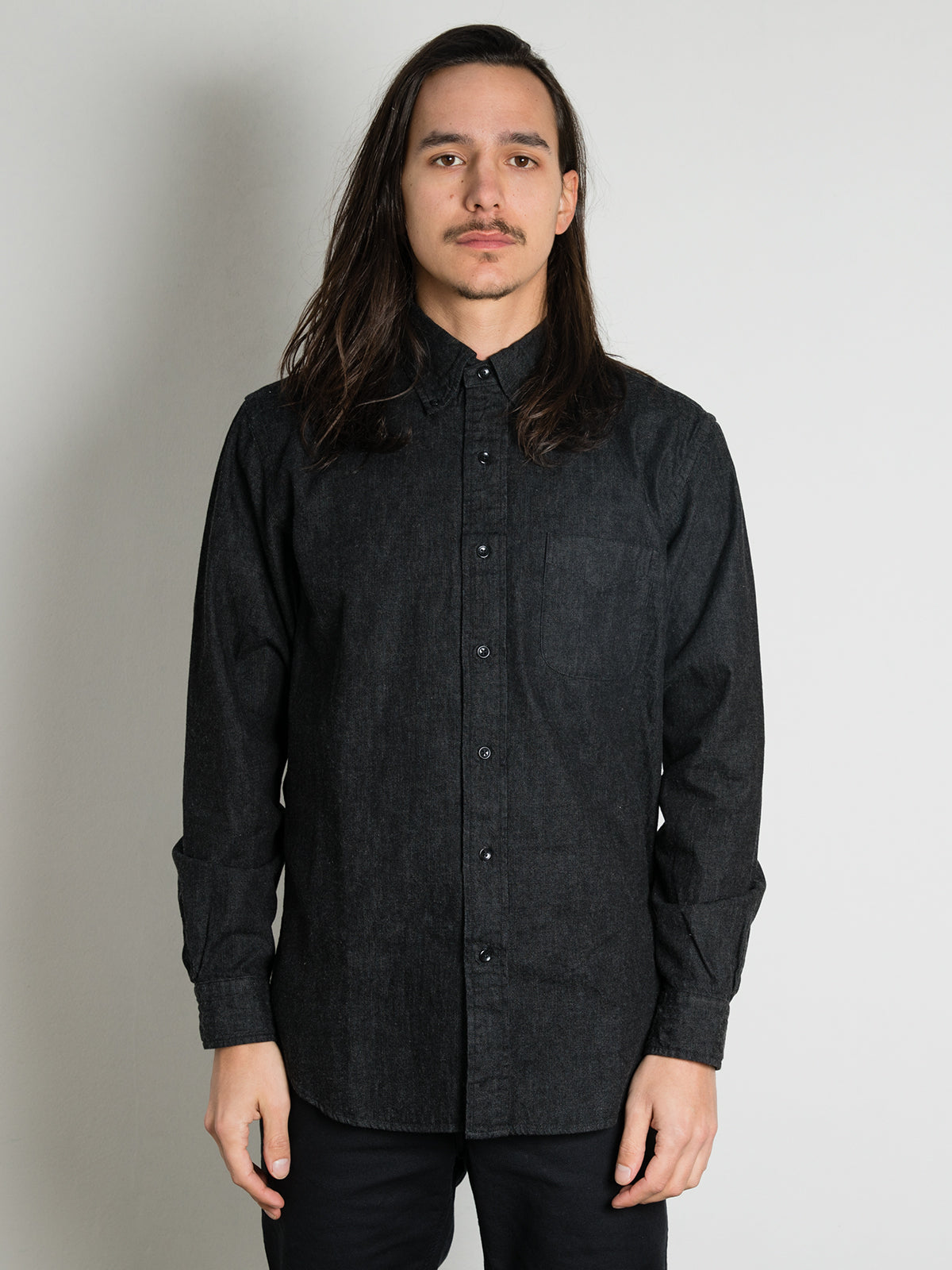 Button Down Denim Shirt - Black