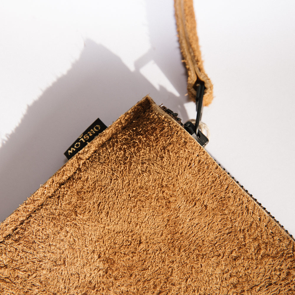 Leather Pouch - Brown Suede