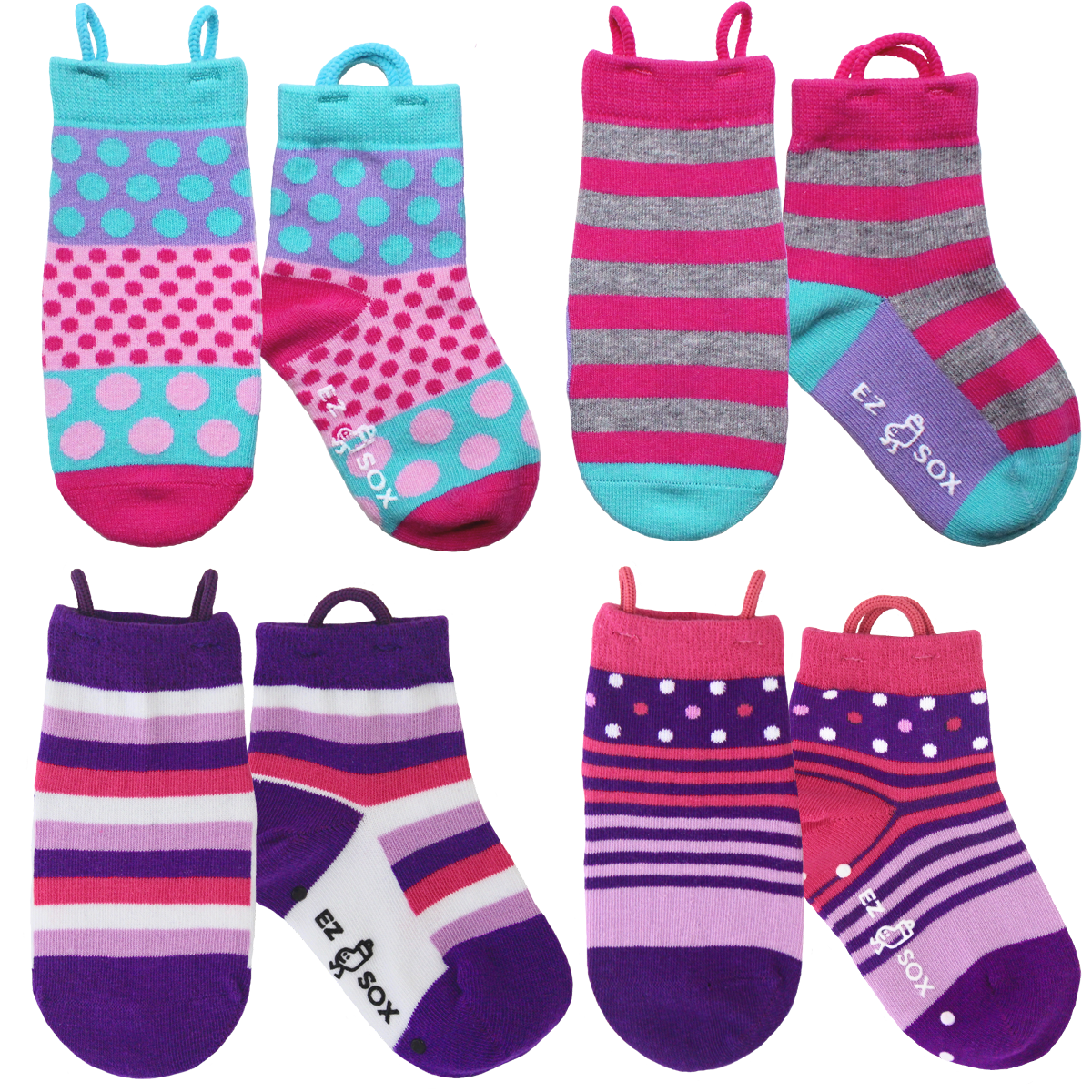 Pink & Purple Socks-4pk
