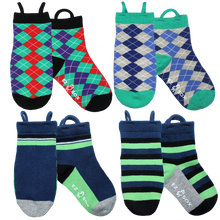 Argyles-Solid Blue & Stripe-4pk