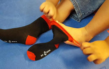 Ez Sox kids black socks, seamless toe, pull up loops