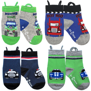 Monster Truck & Cars Socks-4pk