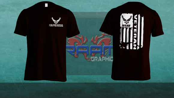 Custom AIR FORCE VETERAN TEE WITH LOGO AND FLAG