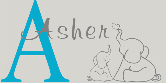 Custom Asher-Momma baby Elephant wall decal
