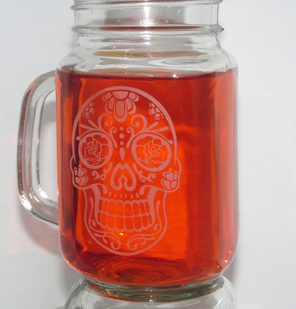 Engraved Sugar Skull Mugs-Set Of 2