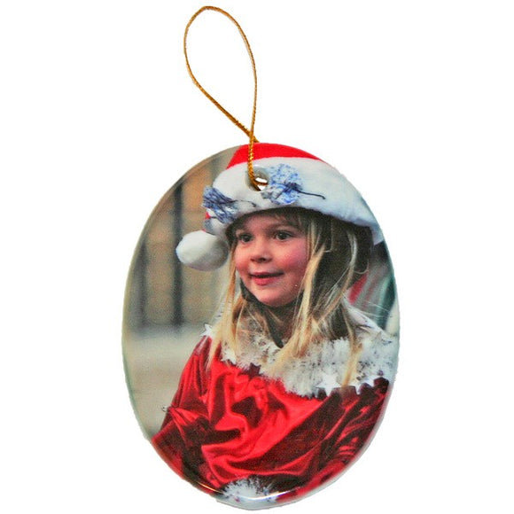 Design Your Own Personalized Ceramic Two Sided Oval Portrait Photo Ornaments