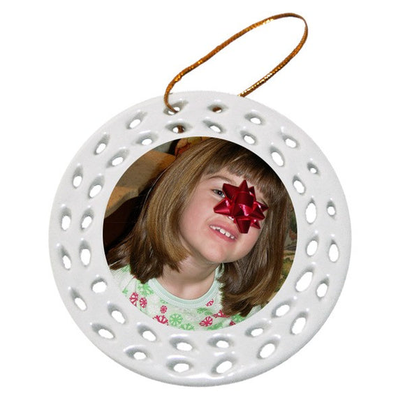 Design Your Own Personalized Ceramic Two Sided Wreath Photo Ornaments