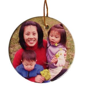 Design Your Own Personalized Ceramic Two Sided Round Photo Ornaments