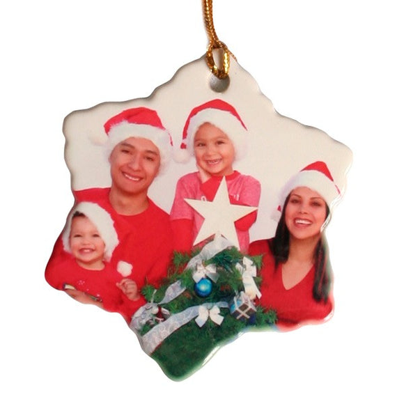 Design Your Own Personalized Ceramic Two Sided Snowflake Photo Ornaments
