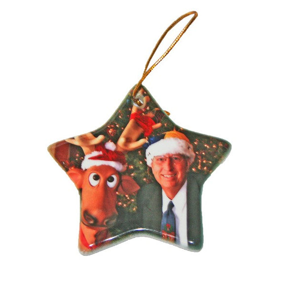 Design Your Own Personalized Ceramic Two Sided Star Photo Ornaments