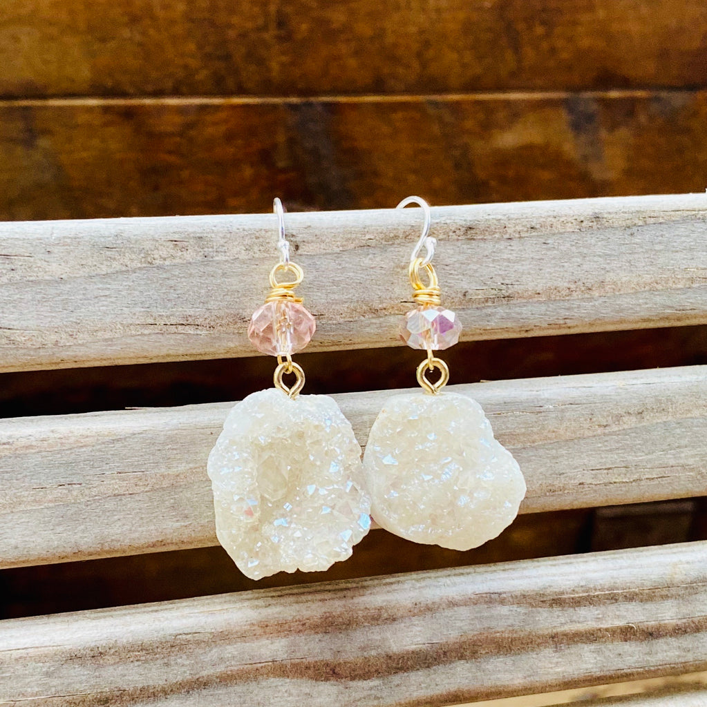 Sterling Silver Earrings with Druzy Beads