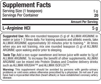 Image result for allmax arginine label