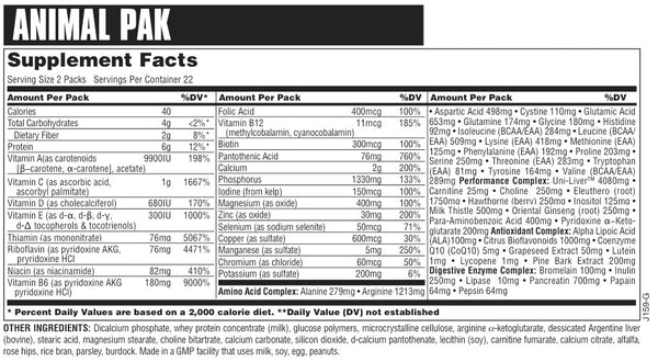Animal Pak 44 Supplement Facts & Ingredients