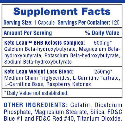 Keto Lean Supplement Facts
