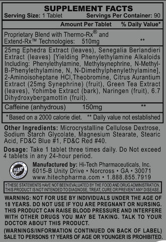 Stimerex-ES Supplement Facts Label