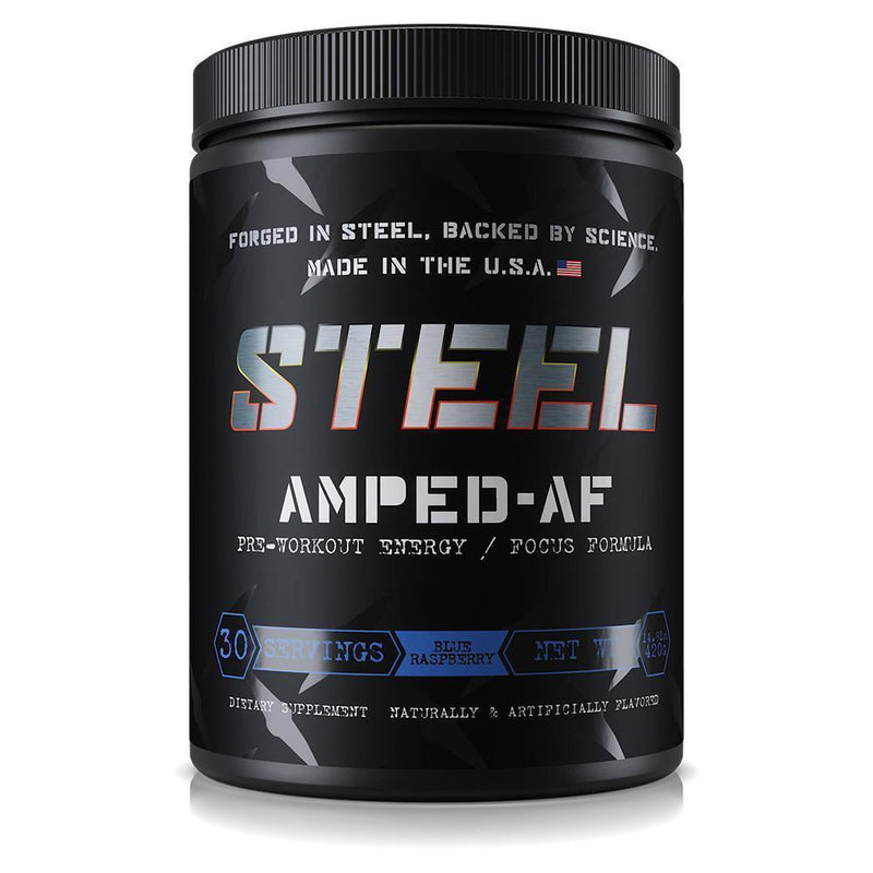 Steel Amped AF 30 Servings Sports Performance Recovery STEEL Blue Raspberry  (3936951140375)