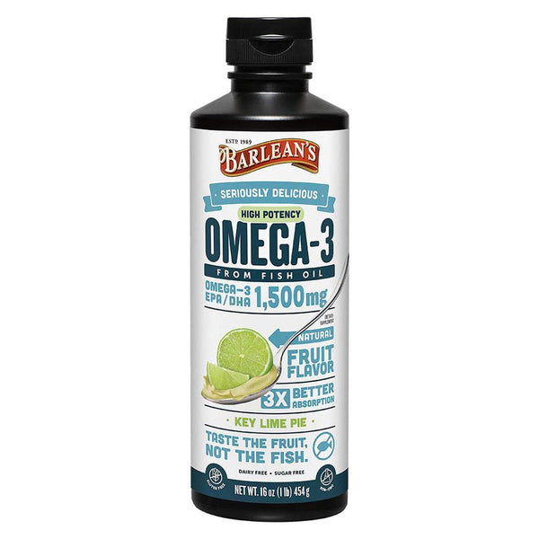 Barlean's Omega Swirls Fish Oil Lime 16 Oz Essential Fatty Acids Oils Barlean's  (574316544033)