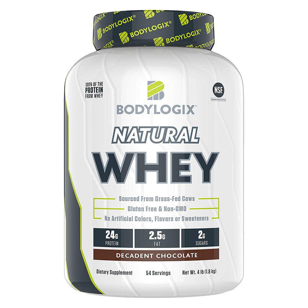 BODYLOGIX Natural Whey Protein 4lb Protein Powders Bodylogix Decadent Chocolate  (1586382503959)