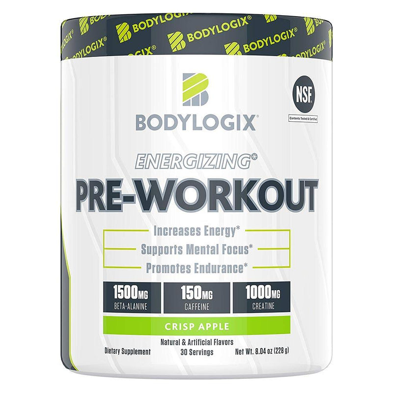 BODYLOGIX Energizing Pre-Workout 30 Servings Sports Performance Recovery Bodylogix Crisp Apple  (1586391908375)