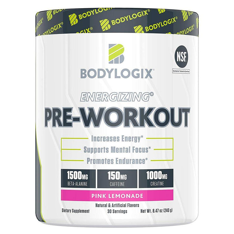 BODYLOGIX Energizing Pre-Workout 30 Servings Sports Performance Recovery Bodylogix Pink Lemonade  (1586391908375)