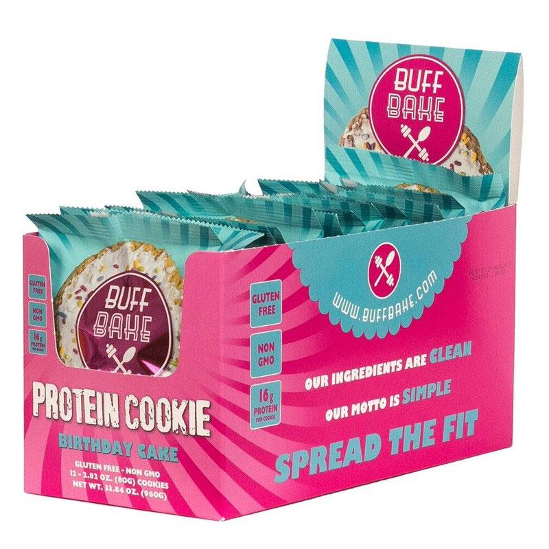 Buff Bake Birthday Cake Protein Cookie 12 Pack Food Snacks High
