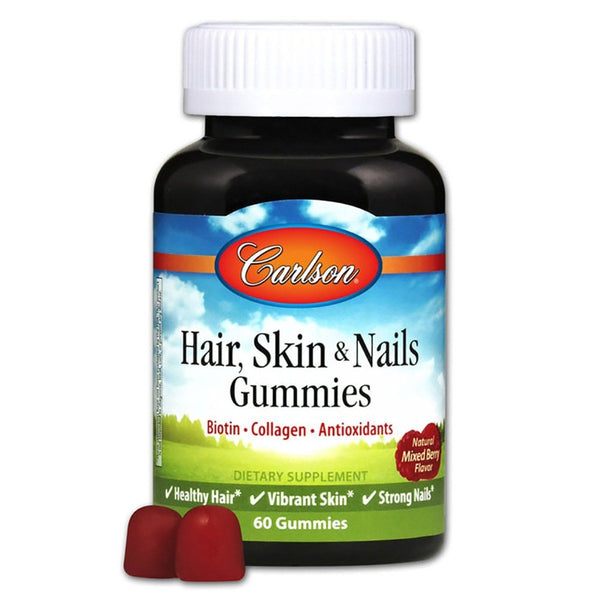Carlson Hair, Skin, & Nails 60 Gummies Specialty Health Products Carlson  (1424321642519)