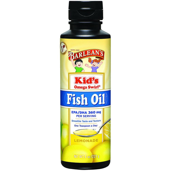Barlean's Kid's Omega Swirl Fish Oil Lemonade 8 floz Essential Fatty Acids Oils Barlean's  (572675162145)